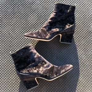 Crushed velvet Jimmy Choo black ankle boots